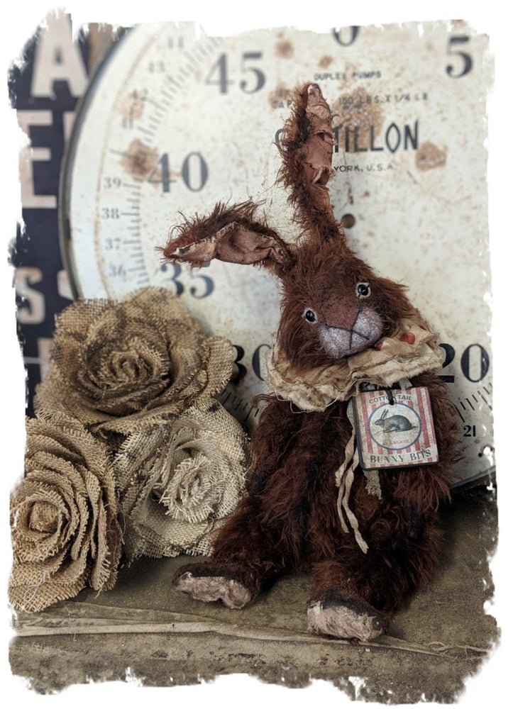Image of Bunny Bits...vintage brown/rust long Mohair RABBIT by Whendi's Bears