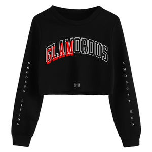 Image of GLAMOROUS CROP TOP OVERSIZED CREWNECK | OFFICIAL GODDESS ENERGY COLLECTION