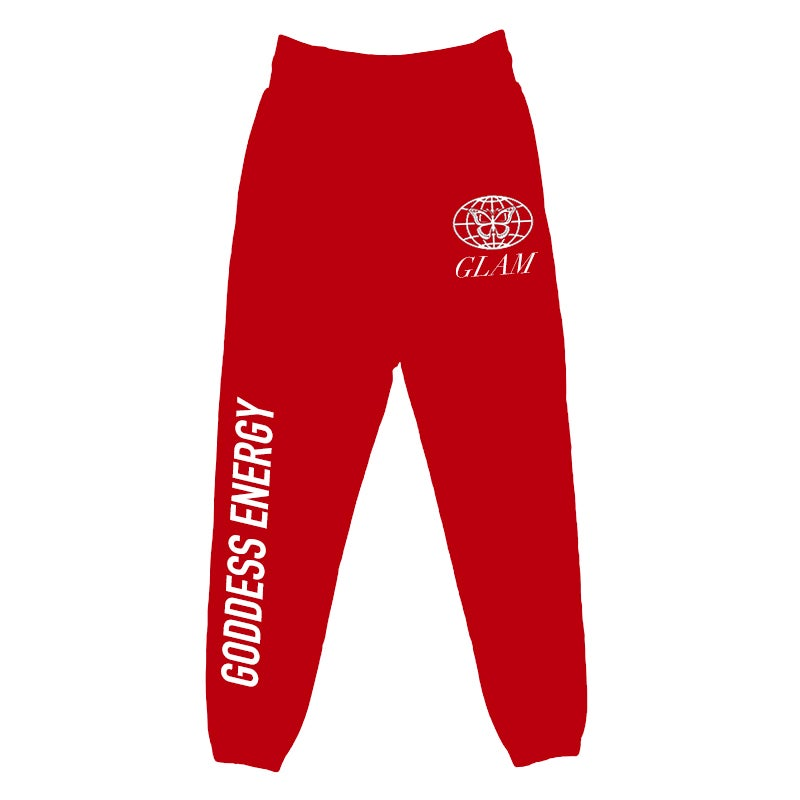 Image of GODDESS ENERGY RED JOGGERS | OFFICIAL GODDESS ENERGY COLLECTION