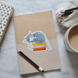 Image of Cat and Books Sticker