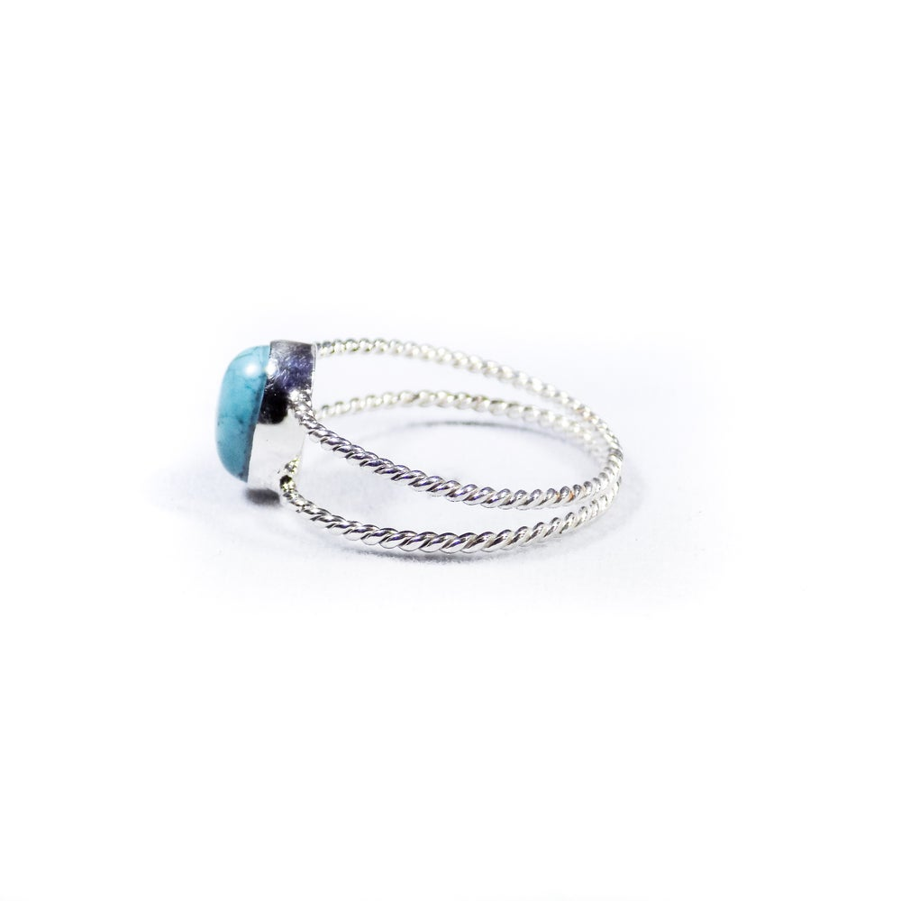 Image of Twisted Band Turquoise Ring- silver