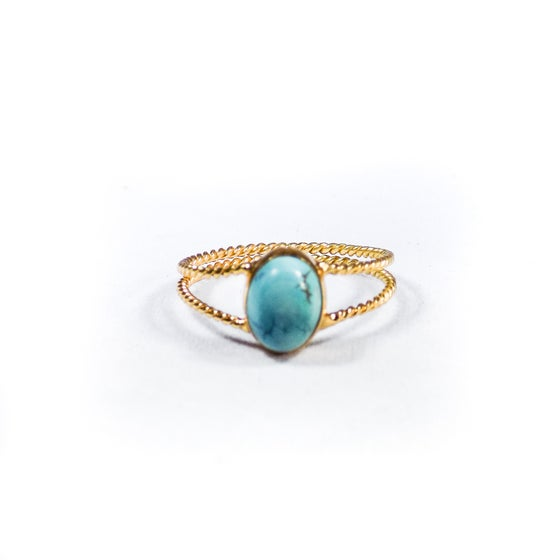Image of Twisted Band Turquoise Rose- gold