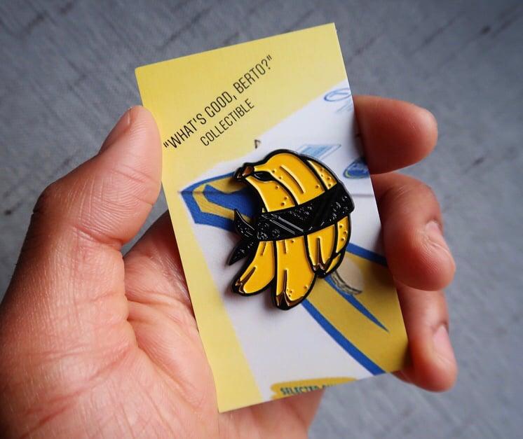 Image of Black Bandana Banana Enamel Pin