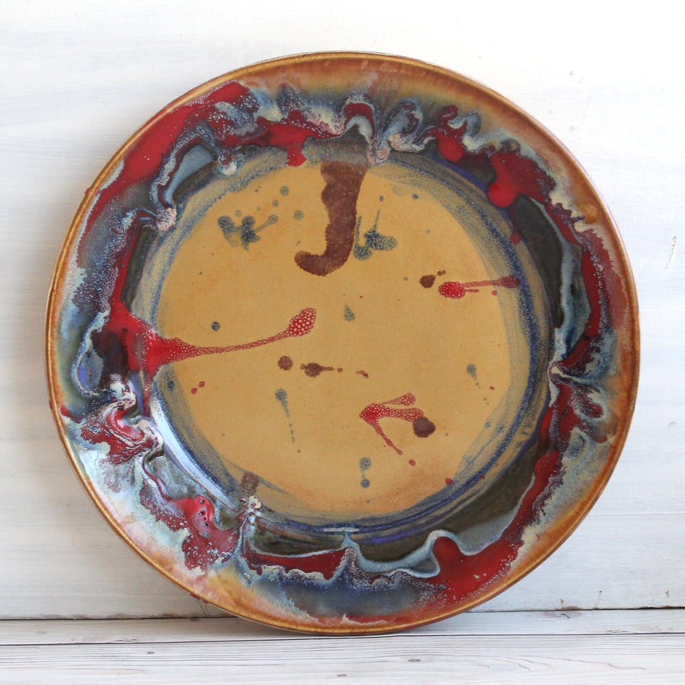 Image of Gorgeous Art Pottery Dinner Plate, One of a Kind Stoneware Dish, Colorful Dinnerware