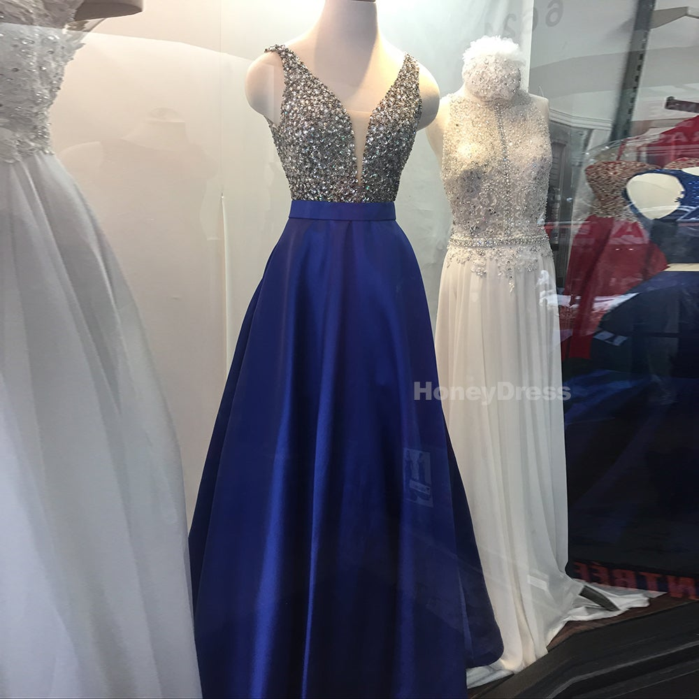 Image of Royal Blue Satin Low V-Neck Sheer Illusion A-Line Long Prom Dress, Beaded Top Evening Gown