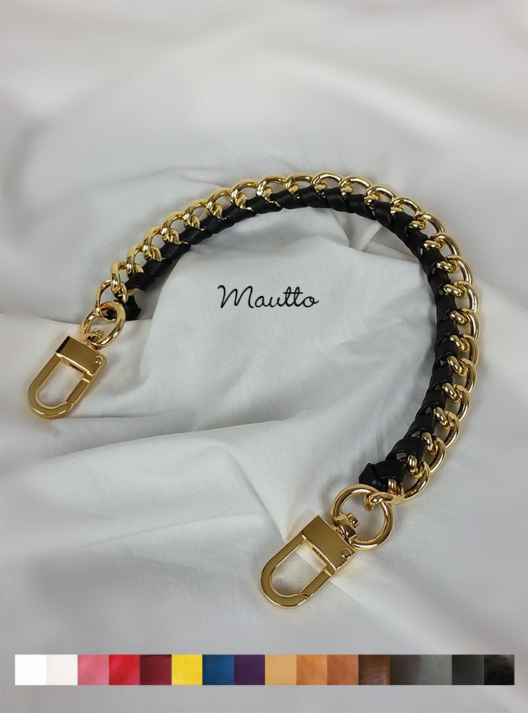 Image of Gold Chain Top Handle with Leather Accent - Large Classy Curb Chain, #16C LG Clasps - 16 Colors
