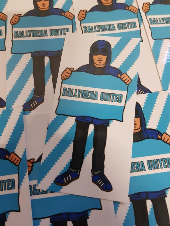 Image of Ballymena United Football/Ultras/Casuals/Hooligans 10x5cm Stickers Pack of 25