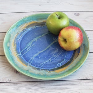 Image of Gorgeous Blue Green Dinner Plate, Handcrafted Art Pottery Dish, Made in USA