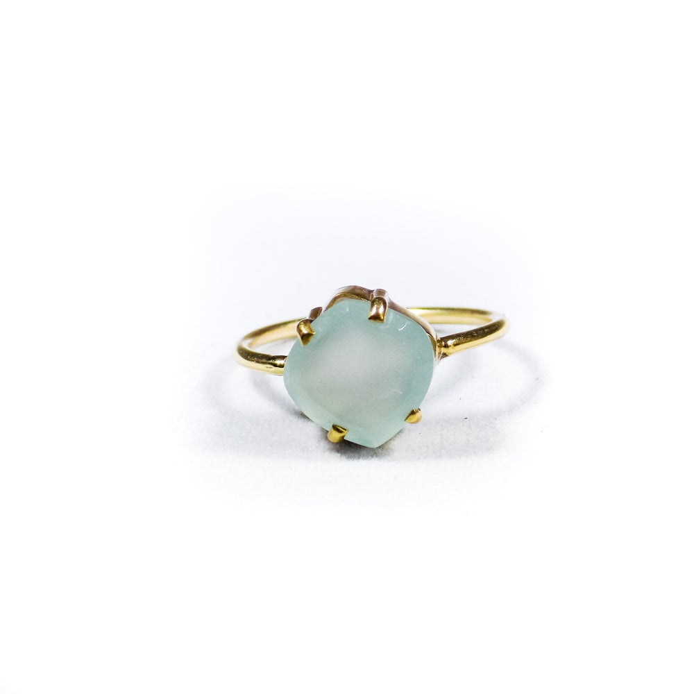Image of Single Stone Claw Sea Blue Chalcedony Ring- gold