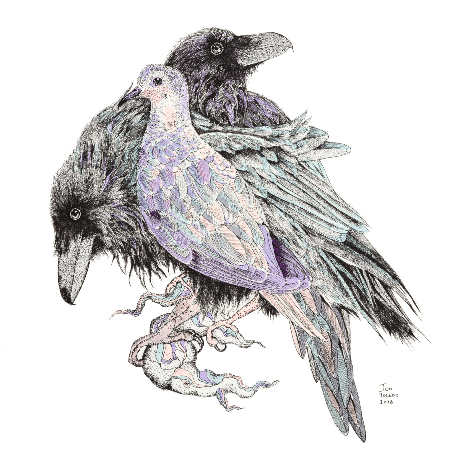 Image of Two Ravens, One Dove