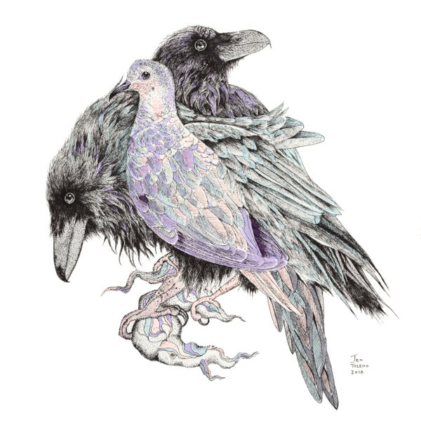 Image of Ravens & Doves, 10 x 10