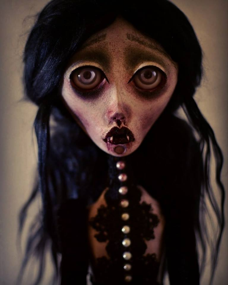 Image of OOAK Handmade Dark Art Doll ASTRID. Vampire doll, gothic doll, sad doll, dark doll, vamp