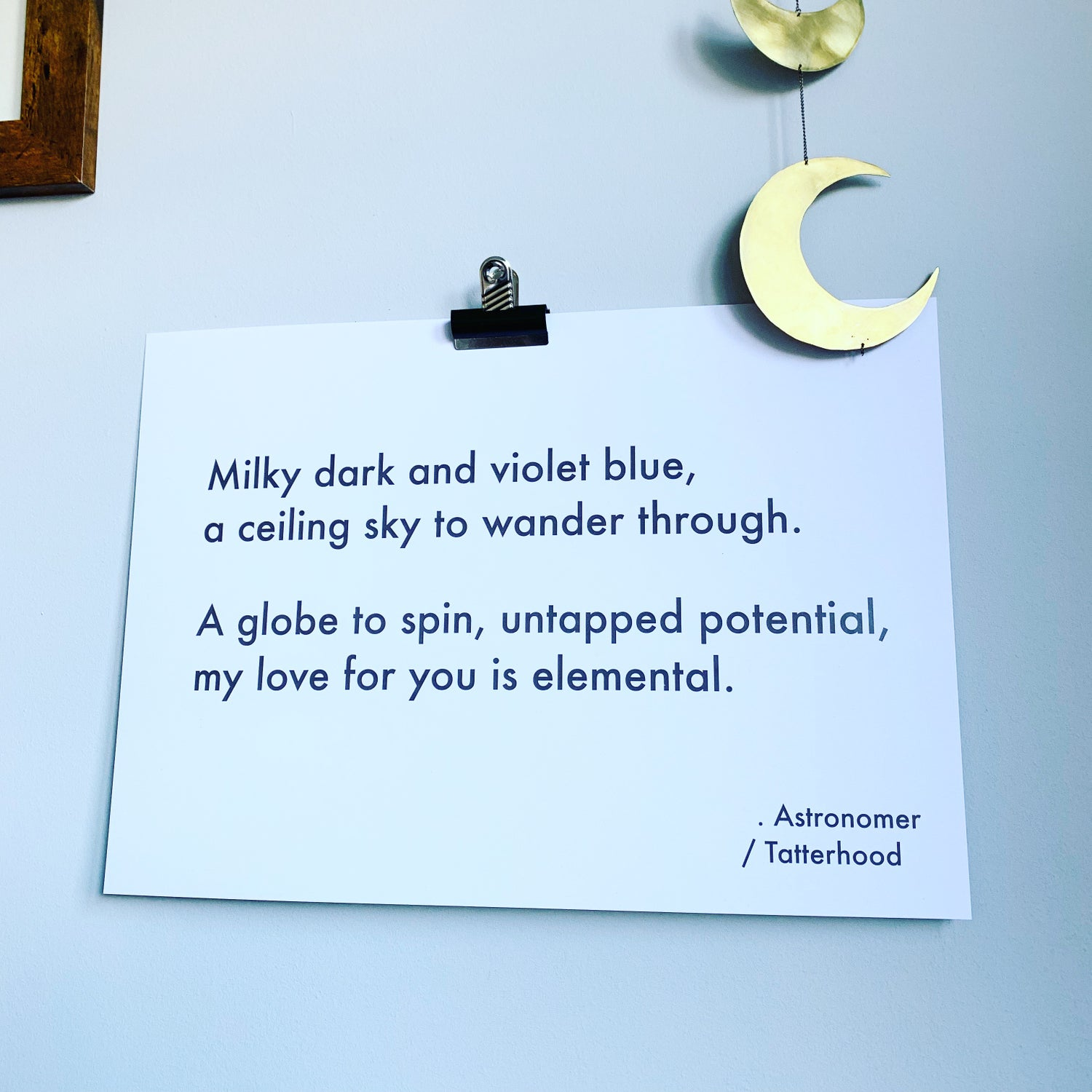Image of Astronomer - A3 heavyweight poem print on premium 300gsm white recycled board