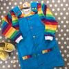 Blue Corduroy Rainbow Button Up Dungaree Dress