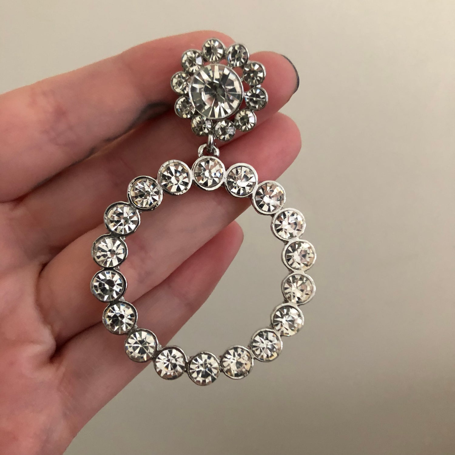 Image of Small Fancy Diamond Hoop Dangles (Sizes 0g-1/2)