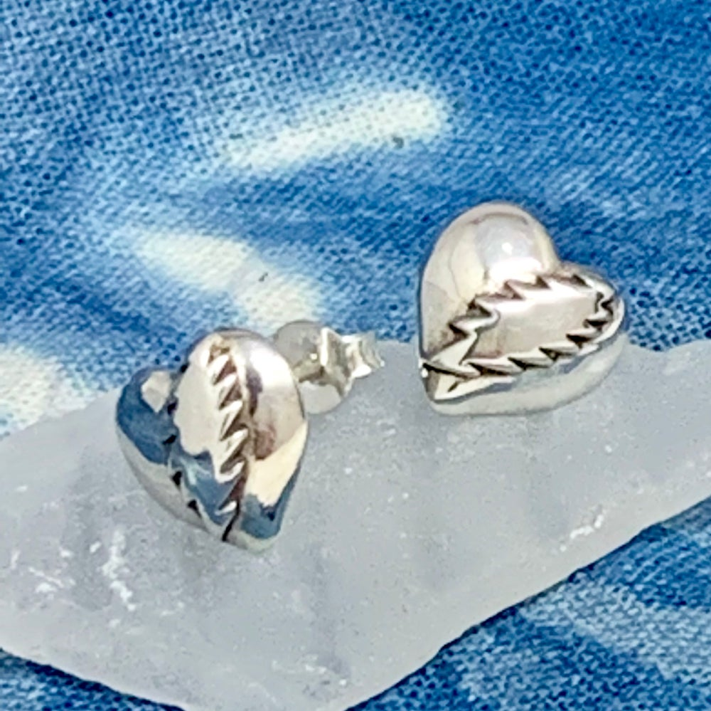 Image of NFA Heart with Bolt Post Earrings