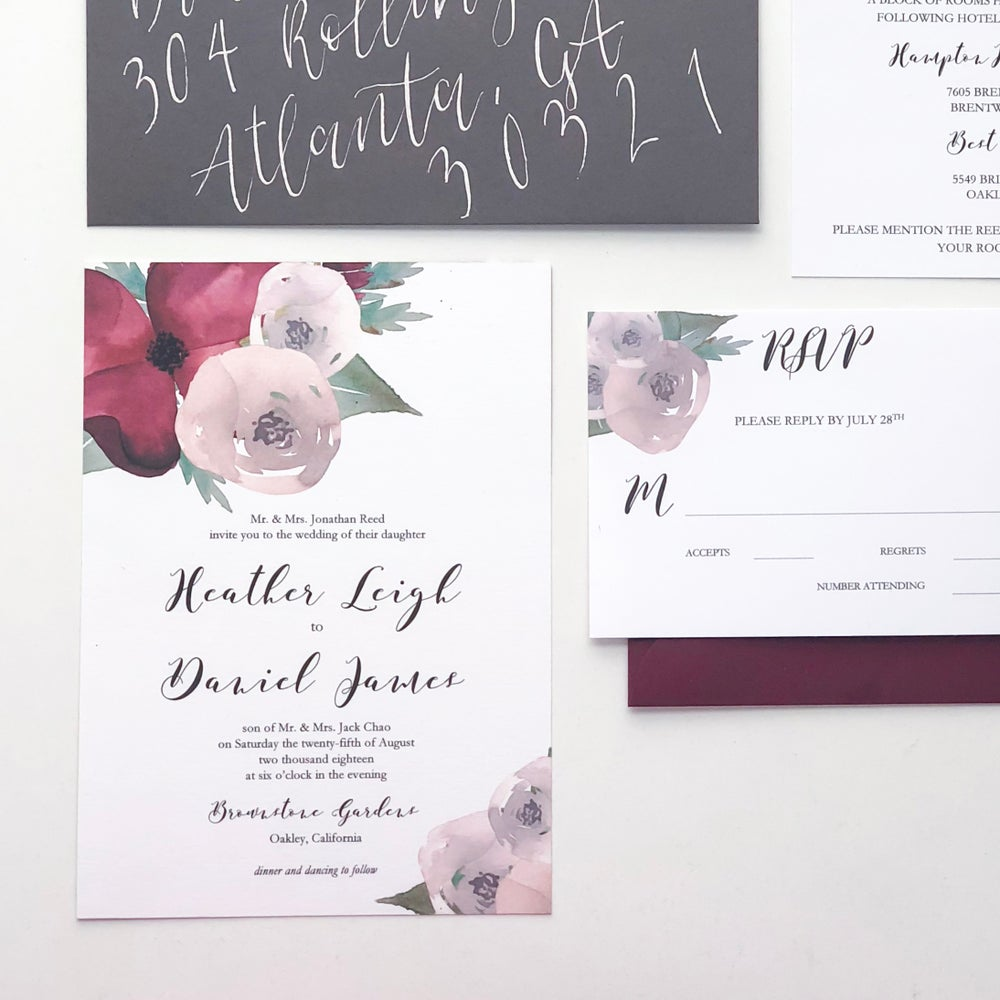 Image of Heather Floral Invitation Suite