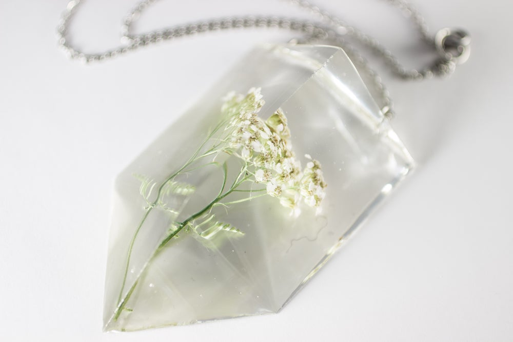Image of Yarrow (Achillea millefolium) - Chunky Statement Piece Prism Necklace