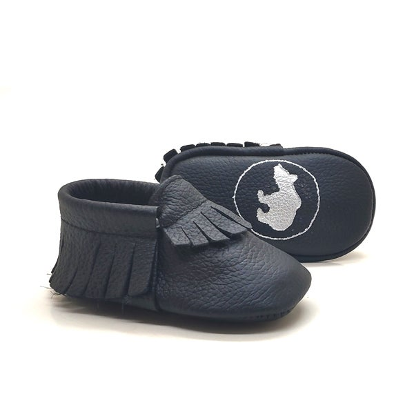 Image of Black Baby Moccasins