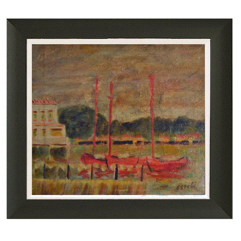 Image of French Seascape, 'Red Sailboats,' G. Estibe