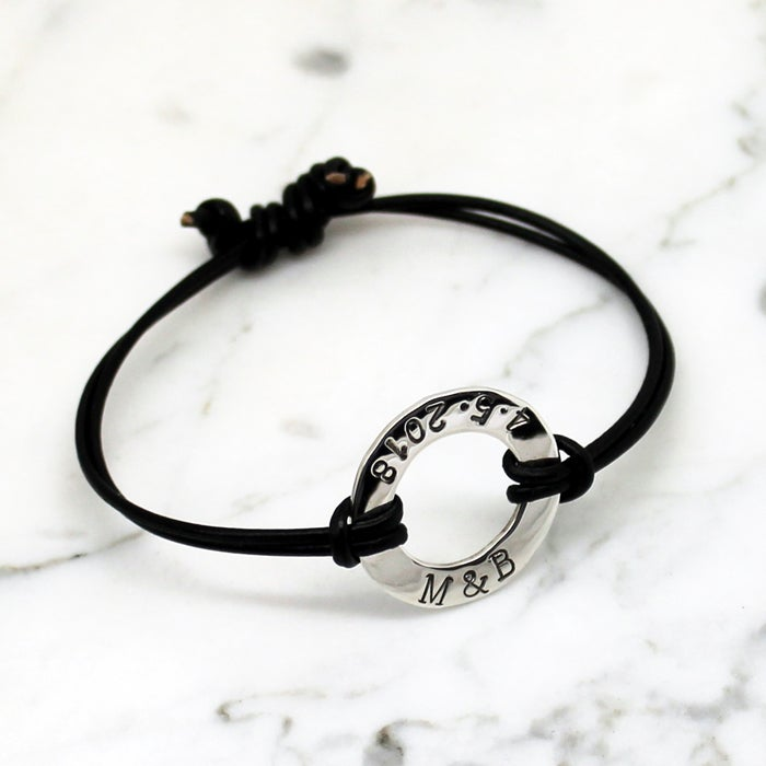 Image of Personalised Circle sterling silver round leather bracelet