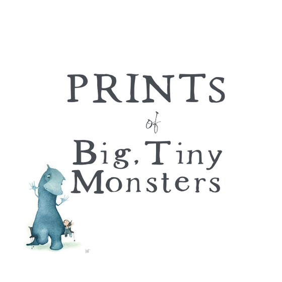 Image of Prints of Big, BLUE Tiny Monsters - from original watercolors