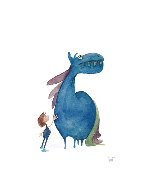 Image of Prints of Big, BLUE Tiny Monsters - from watercolor originals