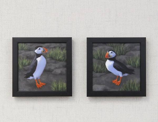"Image of ""Lovebirds"" Pair of Original Oil Paintings"
