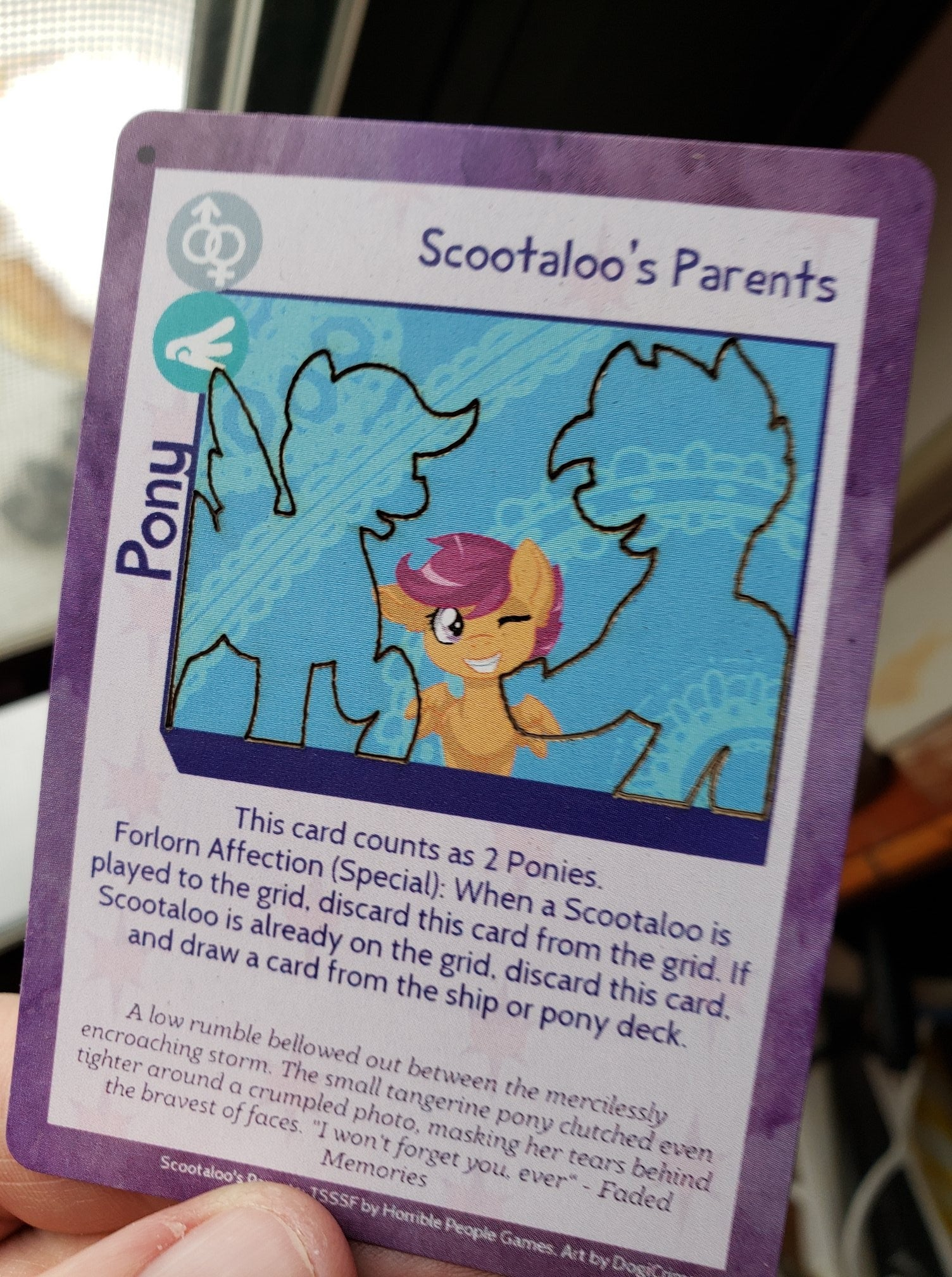 Scootaloo S Parents Sky Railroad I think scootaloo's parents are 2 ponies we don't know yet, maybe because they don't live in ponyville, or because the writers forgot about them. scootaloo s parents