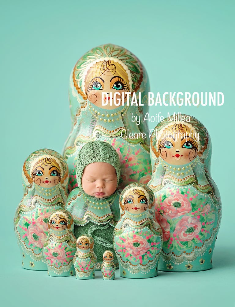 Image of layered mint Russian dolls digital backdrop