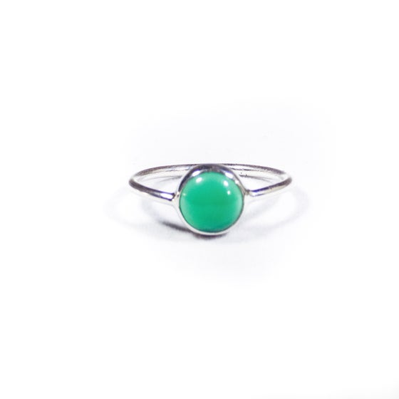 Image of Single Stone Green Onyx Ring- silver