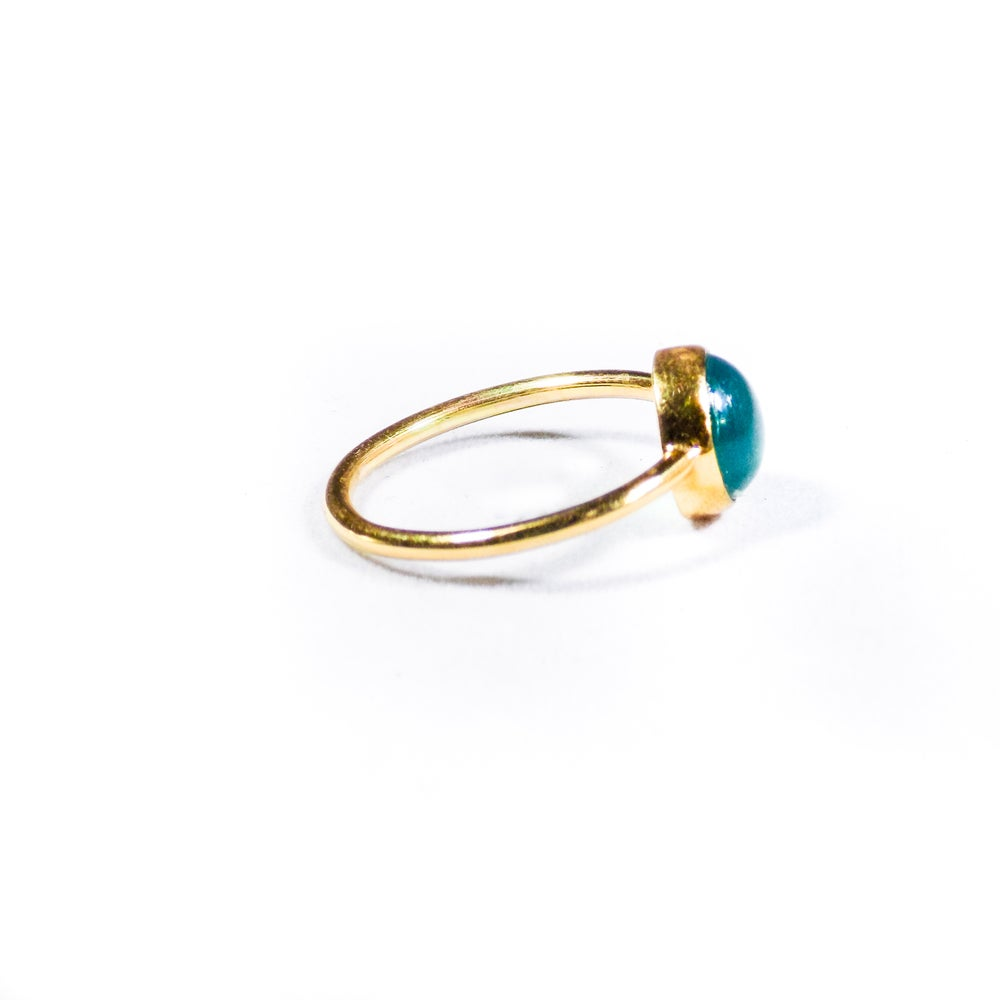 Image of Single Stone Green Onyx Ring- gold