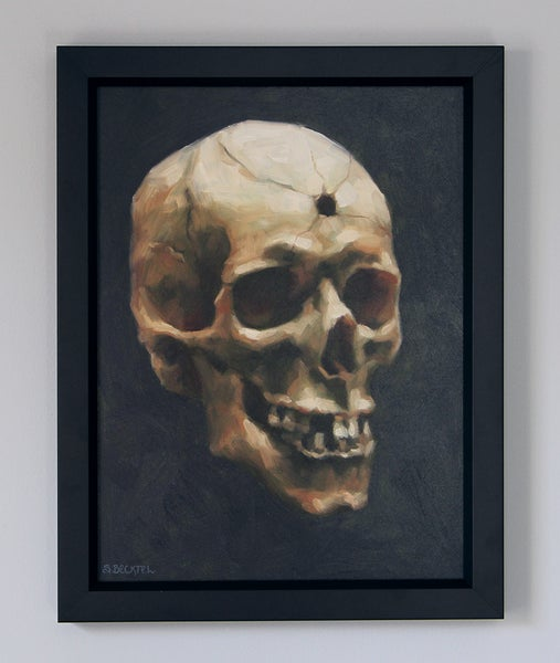 "Image of ""Skull with Bullet Hole"" Original Oil Painting"