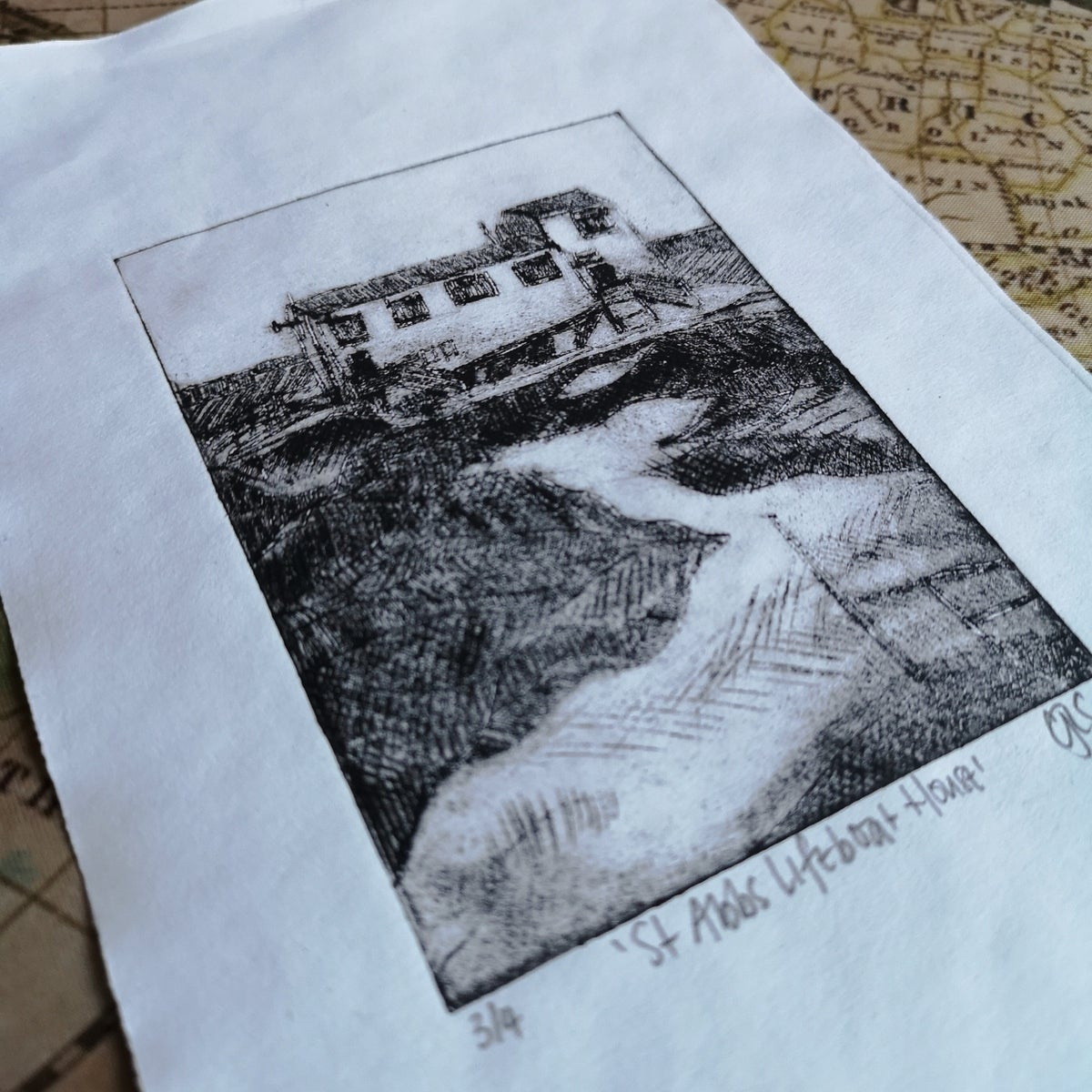 Image of St Abbs Lifeboat House Original Drypoint print 3/4
