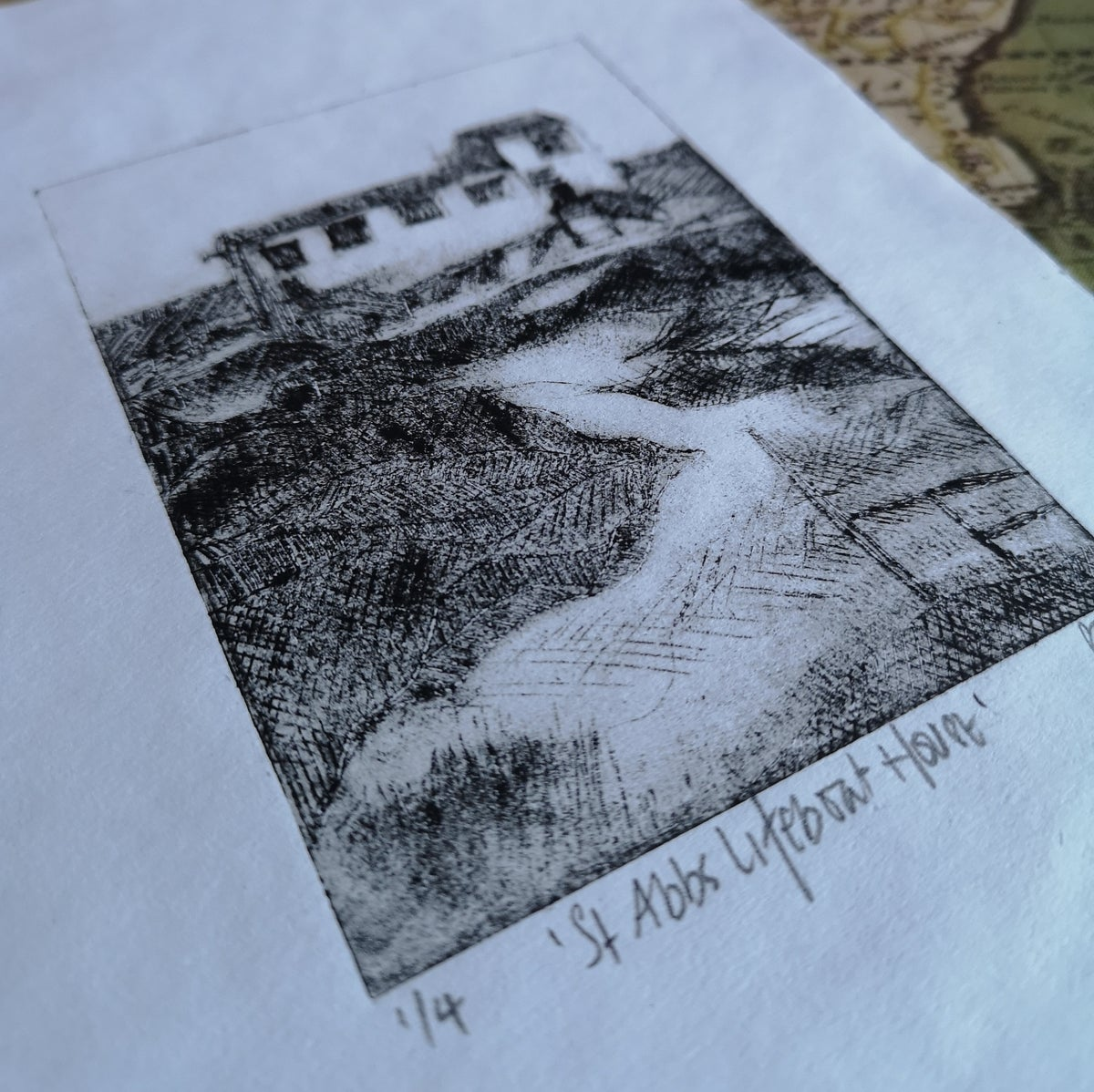 Image of St Abbs Lifeboat House Original Drypoint print 1/4