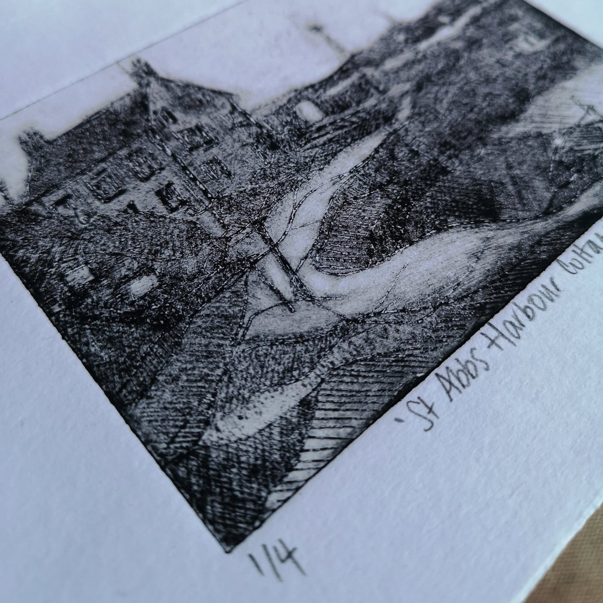 Image of St Abbs Harbour Cottage - Original Drypoint Print 1/4