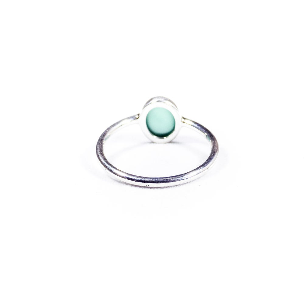 Image of Single Stone Green Onyx Ring 2- silver