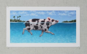 "Image of ""Swimming Pig III"" Art Print"