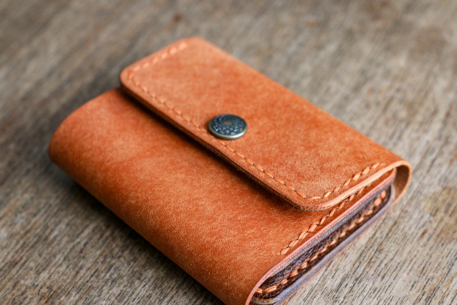 Image of Snap Wallet - Olmo Pueblo / Natural Waxed Flesh