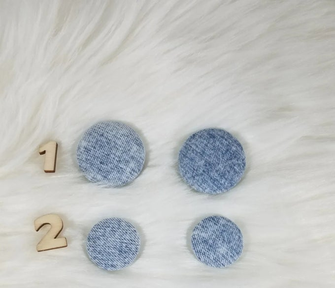 Image of Denim Button Earrings