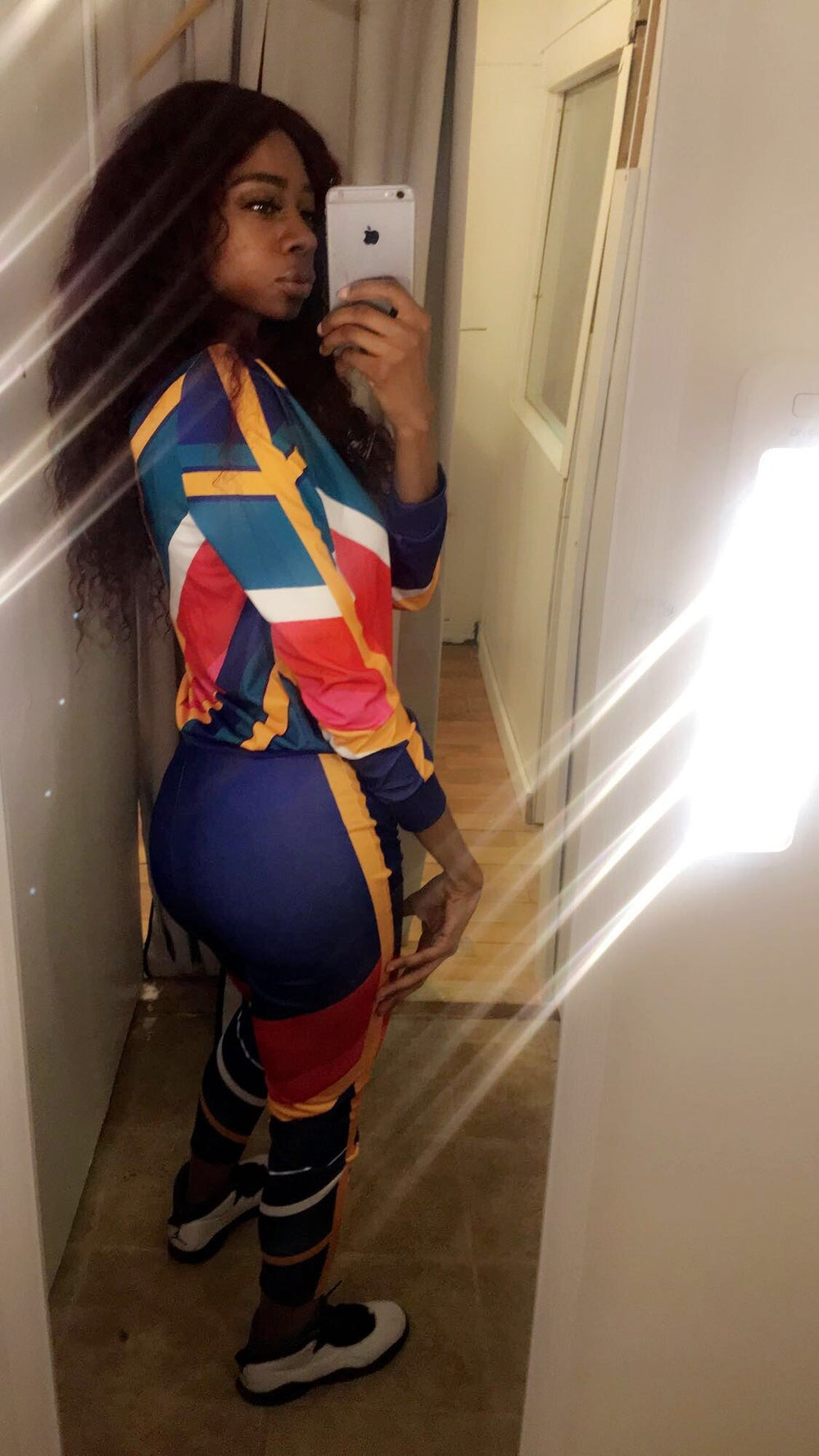 Image of Colorful stripe track suit