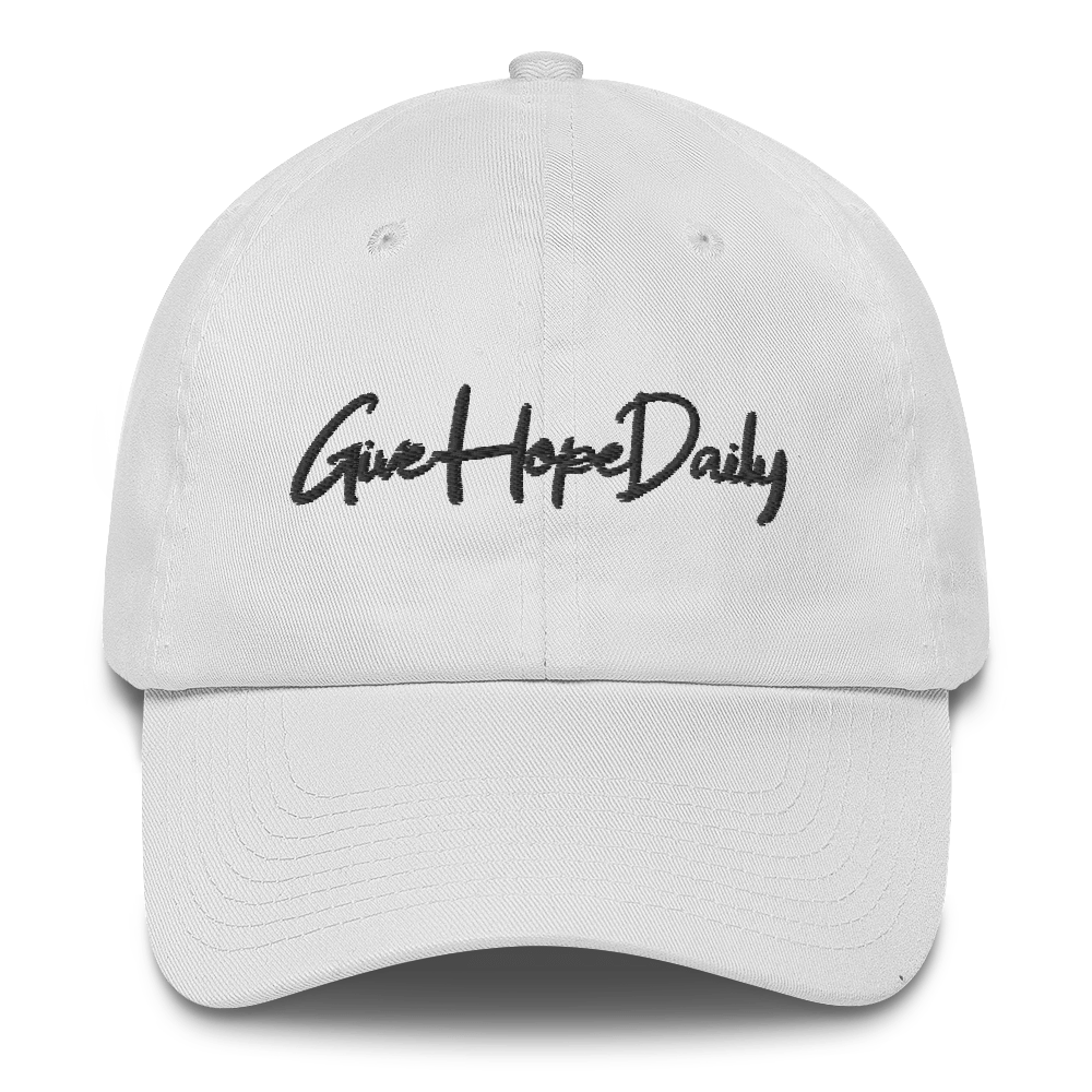 """Image of Give Hope Daily """"dad hat"""" White"""