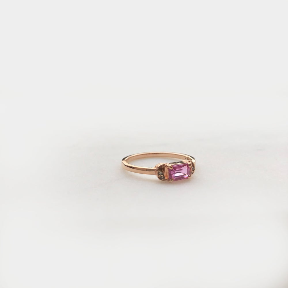 Image of Pink Sapphire Crescent Ring
