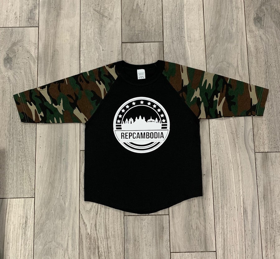Image of Youth (kids) Camo/Black Skyline Baseball Tee