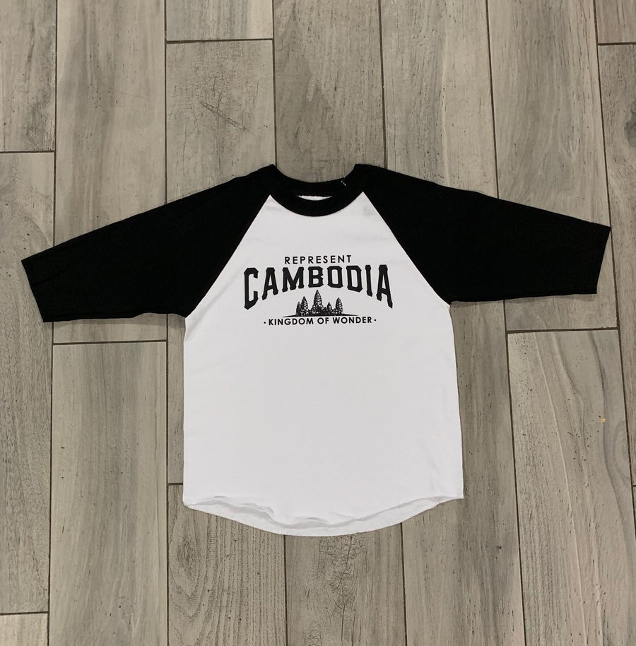 Image of Youth (kids) Black/White Kingdom of Wonder Baseball Tee