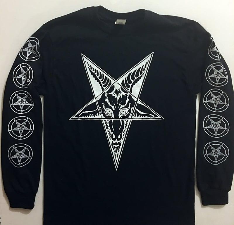Image of Baphomet Goat Head - Long Sleeve T-shirt with Pentagram Sleeve Print
