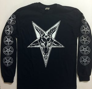 Image of Baphomet Goat Head - Long Sleeve T-shirt with Pentagram Sleeve Print