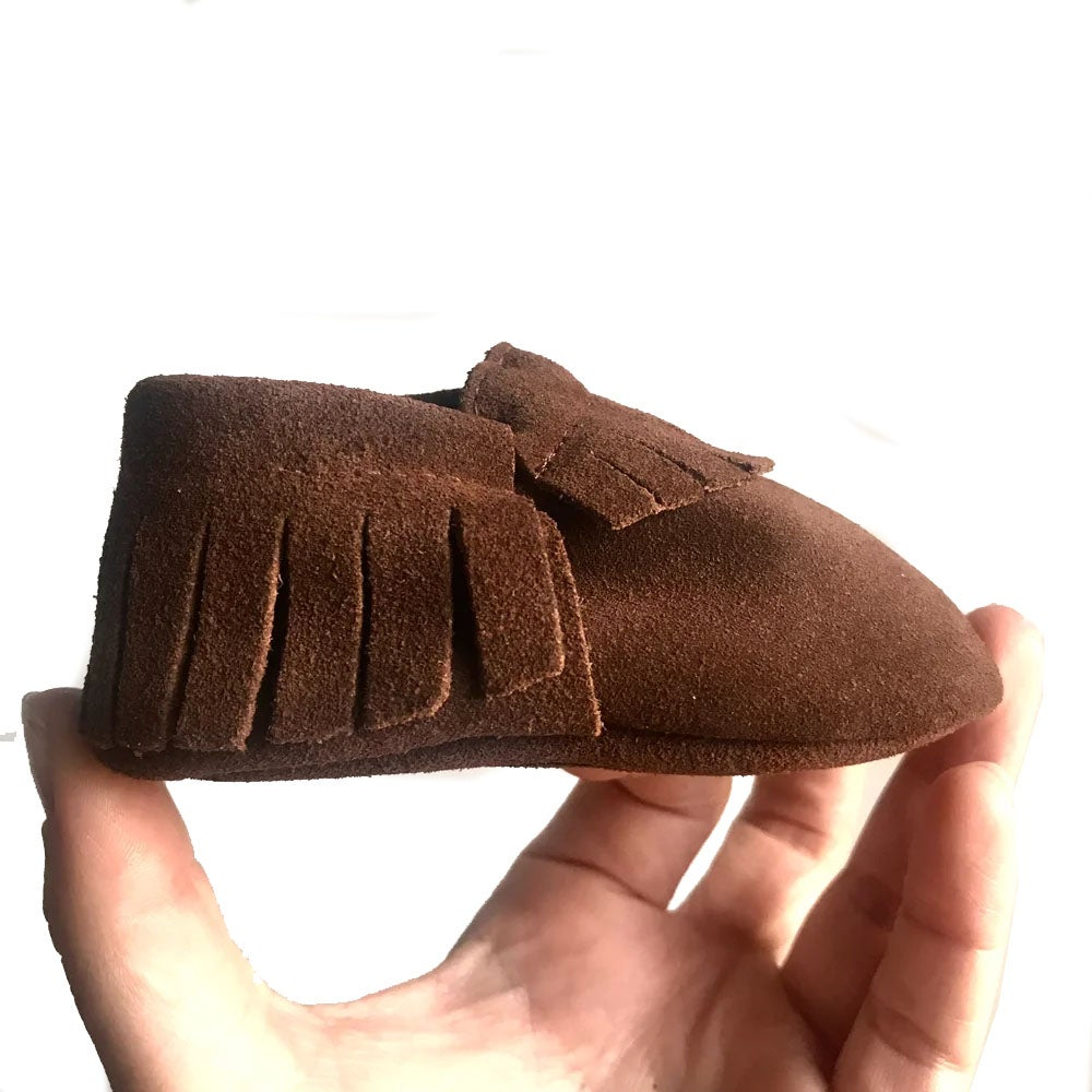 Image of Rusty Brown Suede Baby Moccasins