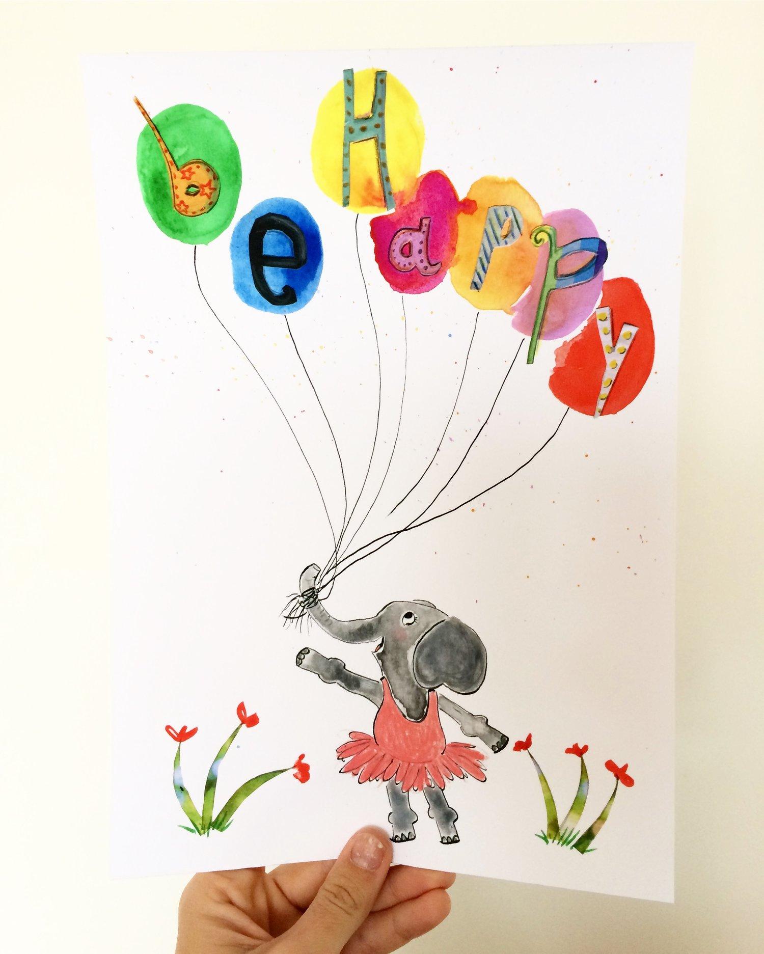 Image of Be happy Elephant Print 50% OFF
