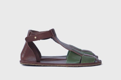 Image of Palm Sandals in Brown and Green Vachetta